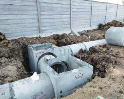 เปี่ยมสุข S-GATE TOWN ติวานนท์-รังสิต:<br>ท่อระบายน้ำคอนกรีตพร้อมบ่อพักคอนกรีต